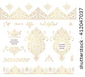 vector set of line art frames... | Shutterstock .eps vector #412047037