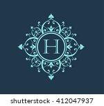 letter h  floral monogram. | Shutterstock .eps vector #412047937