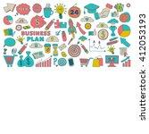 vector set of doodle business... | Shutterstock .eps vector #412053193