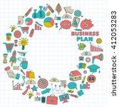 vector set of doodle business... | Shutterstock .eps vector #412053283