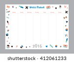 scandinavian weekly and daily... | Shutterstock .eps vector #412061233