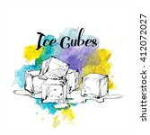 hand drawn ice cubes. vector... | Shutterstock .eps vector #412072027