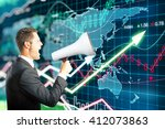 Small photo of Businessman screaming into a megaphone on forex background