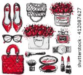 big vector fashion sketch set.... | Shutterstock .eps vector #412087627