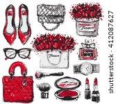 Big vector fashion sketch set. Hand drawn graphic shoes, bag, makeup brush, lipstick, powder, wrist watch, perfume, flower box, eye glasses, flowers. Trend glamour fashion illustration kit vogue style   Shutterstock vector #412087627