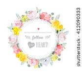 colorful birthday floral vector ... | Shutterstock .eps vector #412090333