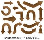 set of different arrows. wooden ... | Shutterstock .eps vector #412091113