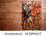 fresh mussels  crayfish  shrimp ... | Shutterstock . vector #412094617