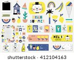 summer set with cards  notes ... | Shutterstock .eps vector #412104163