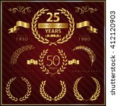 anniversary golden emblems and... | Shutterstock .eps vector #412120903