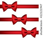 silk red ribbon with a bow.... | Shutterstock .eps vector #412121947
