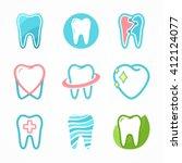 set of tooth logo design...   Shutterstock .eps vector #412124077