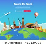 travel to world. road trip.... | Shutterstock .eps vector #412139773