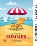 bright summer holidays poster... | Shutterstock . vector #412152493