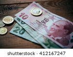 turkish lira bills and coins on ... | Shutterstock . vector #412167247