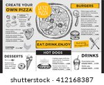 menu placemat food restaurant... | Shutterstock .eps vector #412168387