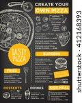 menu placemat food restaurant... | Shutterstock .eps vector #412168393