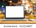 conceptual workspace  laptop... | Shutterstock . vector #412216807