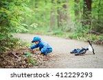 portrait of cute caucasian... | Shutterstock . vector #412229293