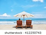 back view of two deckchairs ... | Shutterstock . vector #412250743
