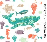 sea animals colorful seamless... | Shutterstock .eps vector #412265233