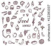 handdrawn food icons  funny...   Shutterstock .eps vector #412281037