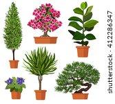 illustration of plants in pot.... | Shutterstock .eps vector #412286347