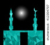 moon star and masjid with... | Shutterstock .eps vector #412304707
