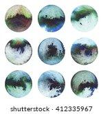 watercolor circle. frame... | Shutterstock . vector #412335967