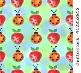 seamless pattern with insects... | Shutterstock . vector #412353853