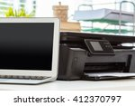 printer and computer. office...   Shutterstock . vector #412370797