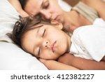 sleeping kid girl and her... | Shutterstock . vector #412382227
