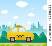 car taxi on city background.... | Shutterstock . vector #412386193