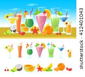 set of cocktails on a table... | Shutterstock .eps vector #412401043