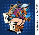 astronaut thinker on the toilet ... | Shutterstock .eps vector #412413523