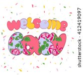 word welcome baby.vintage... | Shutterstock .eps vector #412419097