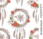 seamless pattern with hand... | Shutterstock .eps vector #412437277