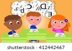 dyslexic boy in school class.... | Shutterstock .eps vector #412442467
