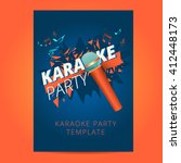 karaoke party flyer with... | Shutterstock .eps vector #412448173