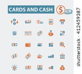 cards and cash icons  | Shutterstock .eps vector #412459387