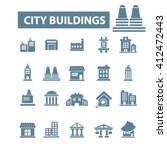 city buildings icons  | Shutterstock .eps vector #412472443