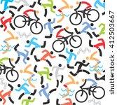 triathlon icons background.... | Shutterstock .eps vector #412503667