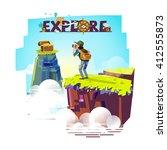 explorer man with binocular on... | Shutterstock .eps vector #412555873