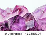 Crystal Stone macro, purple rough amethyst quartz crystals