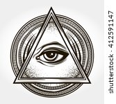 hand drawn eye of providence.... | Shutterstock .eps vector #412591147