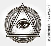 hand drawn eye of providence....   Shutterstock .eps vector #412591147