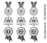 gold  silver and bronze medals. ...   Shutterstock .eps vector #412603633