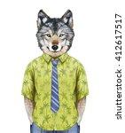 portrait of wolf in  summer... | Shutterstock . vector #412617517