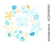 cute vintage frame with hand...   Shutterstock .eps vector #412656943