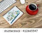 business workplace with stuff | Shutterstock . vector #412665547